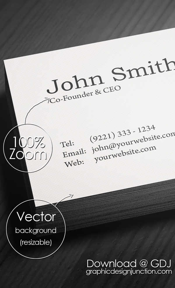 Minimal Business Card Actual Size View