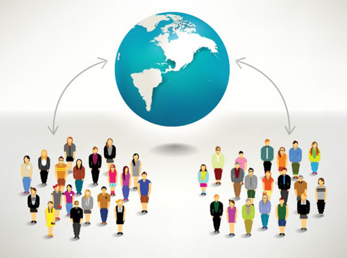 Group of Connected People Vector Graphics
