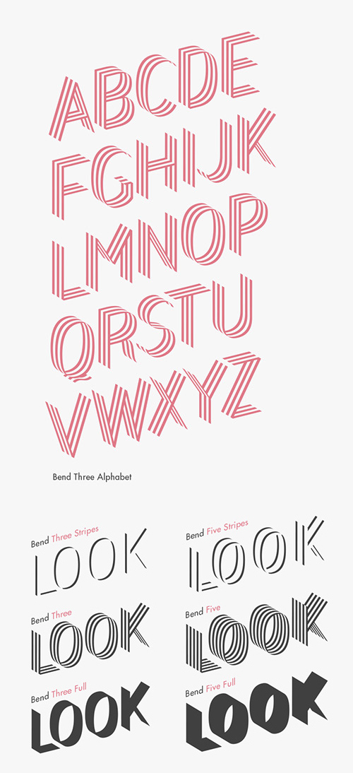 Bend free font letters