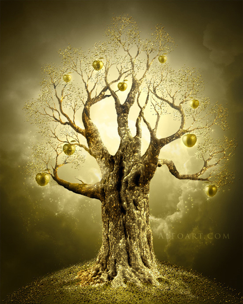 How to Create a  Golden Apple Tree in Photoshop