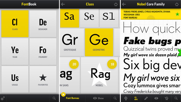 FontBook iPhone App for Designers