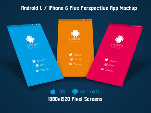 Android L / iPhone 6+ Perspective App Mockup
