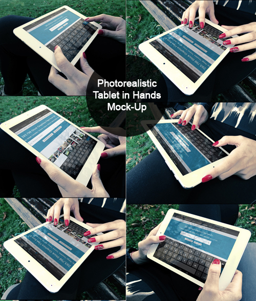 Photorealistic Tablet With Female Hands Mock-Up