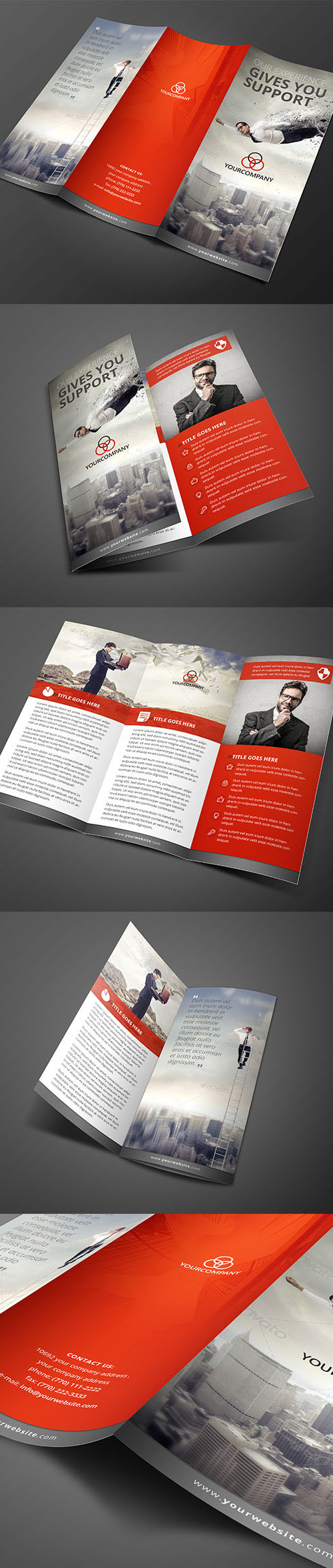 Clean Red Trifold Brochure Template