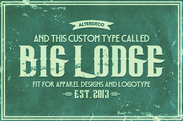Big Lodge Custom Type, is a vintage and retro style font