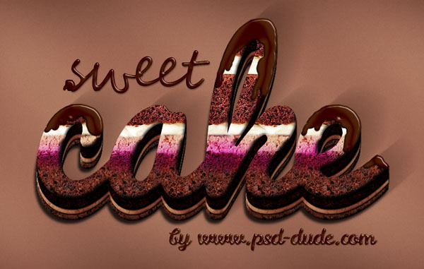 Cream And Chocolate Cake Photoshop Text Effect