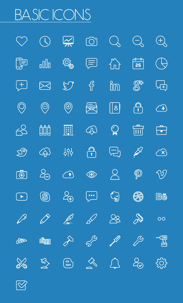 Basic Line and Solid Icons