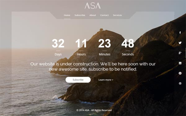 Asa - Responsive Coming Soon Template