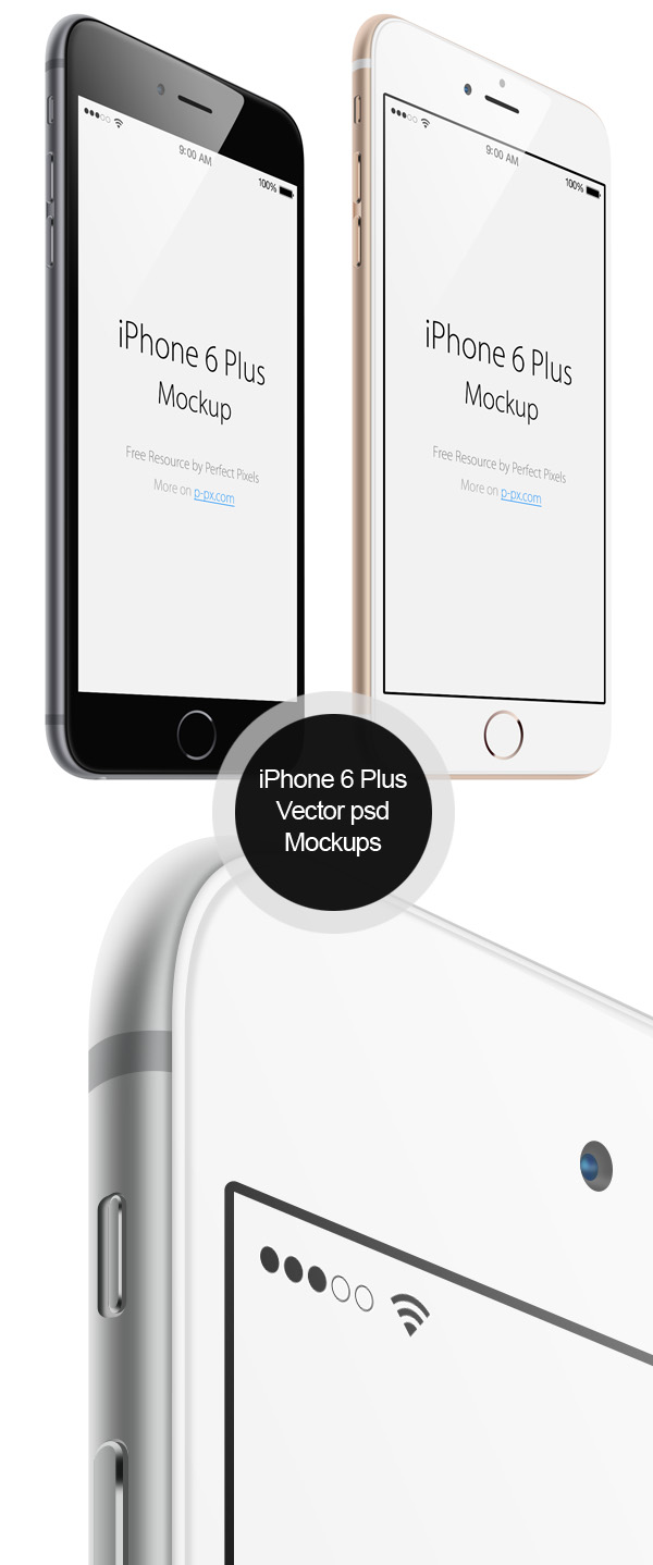 iPhone 6 Plus Vector PSD MockUps