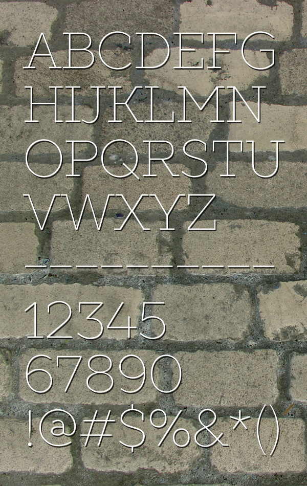 Slabs Thin Font Letters