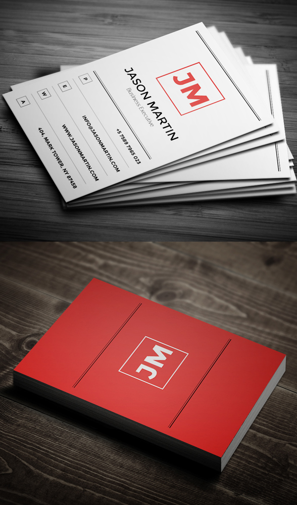 Minimal Red Business Card