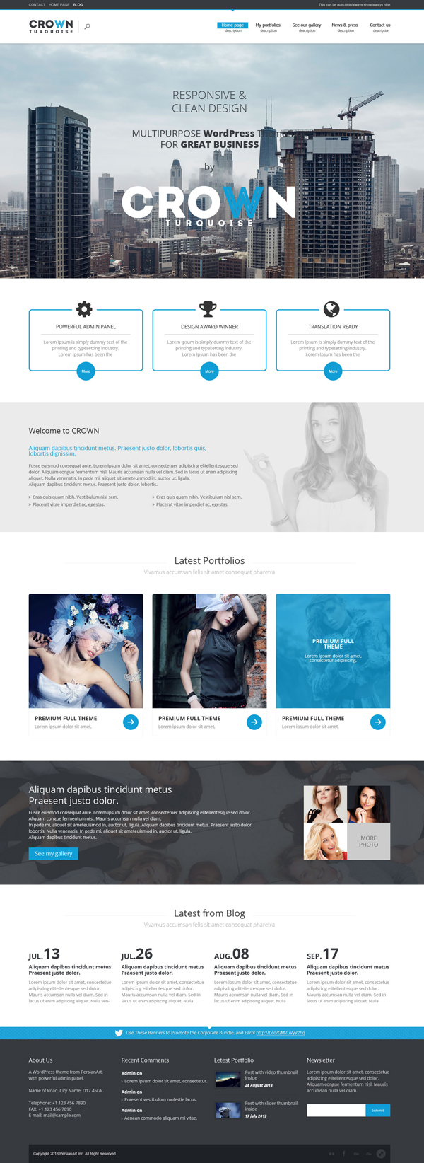 Crown Turquoise - Multipurpose/Single Page/Shop Theme
