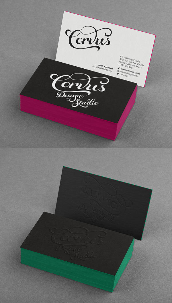 Embossed Colored Edge Business Card Mockup