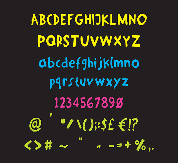Growl Rounded font letters