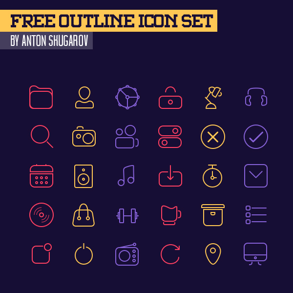 Beautiful Free Outline Icons - 30 Icons