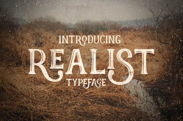 Realist typeface font display made by hand
