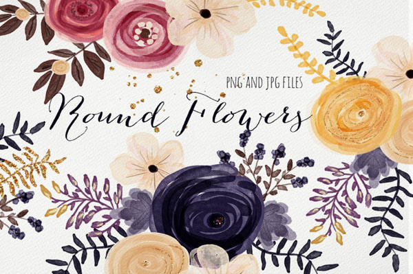 Round flowers – floral handmade clipart