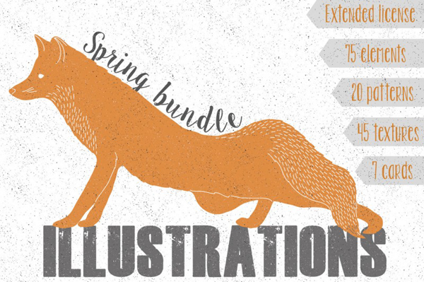 Spring super bundle includes floral elements, patterns, textures, cards and animals