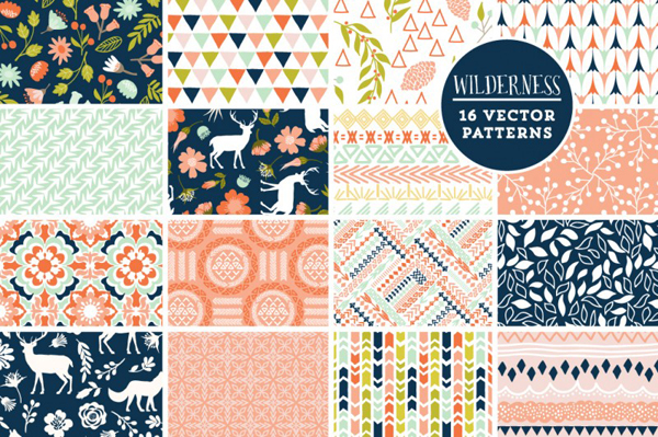 Wilderness Mega Pack rustic floral, tribal and nature themed vector elements