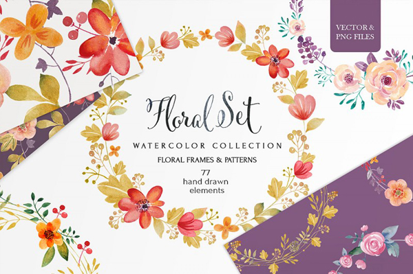 77 hand drawn floral elements