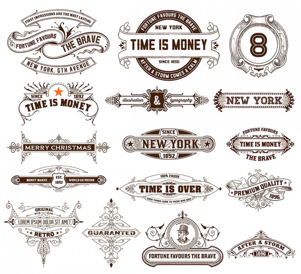16 vector retro/vintage style labels and banners