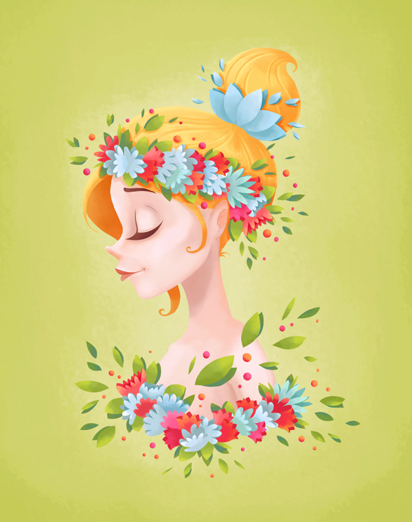 How to Paint a Spring Lady Floral Portrait in Adobe Photoshop
