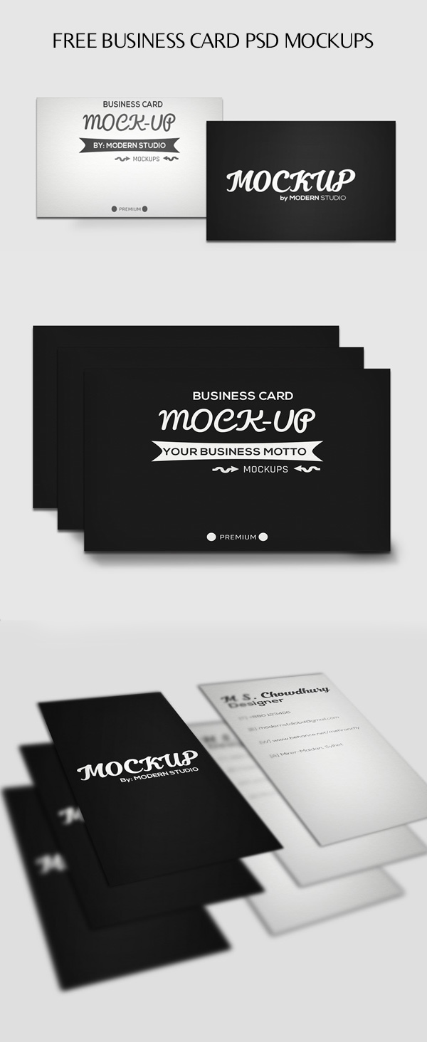 Free Horizontal and Vertical Business Card PSD Mockups