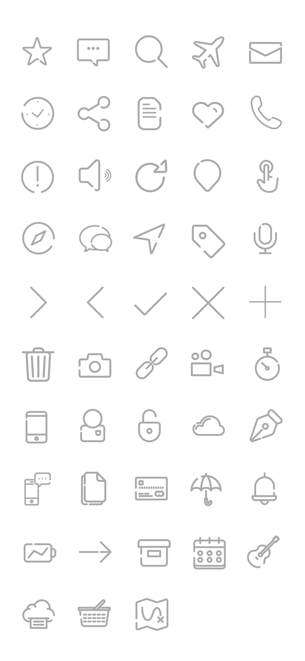 Free Outline Gap Icons - PSD and AI (45 Icons)