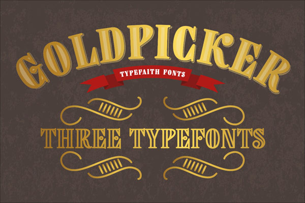 Goldpicker is a vintage retro styled typeface