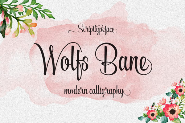 Wolfsbane brush script and unique calligraphy style