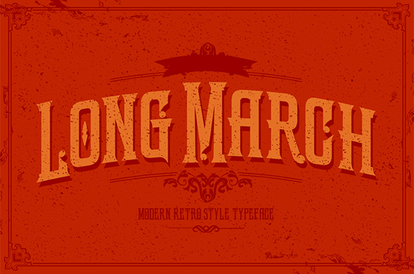LongMarch, is a modern retro style typeface