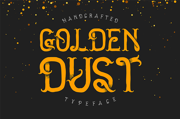 Golden dust typeface Fully handcrafted with vintage points effect