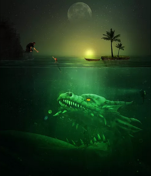 Create A Troublesome Underwater Scene With A Big Green Monster In Photoshop