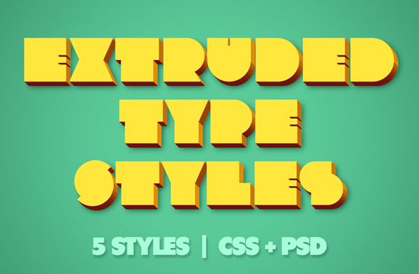 Extruded CSS Type Styles (+PSD) Free Download