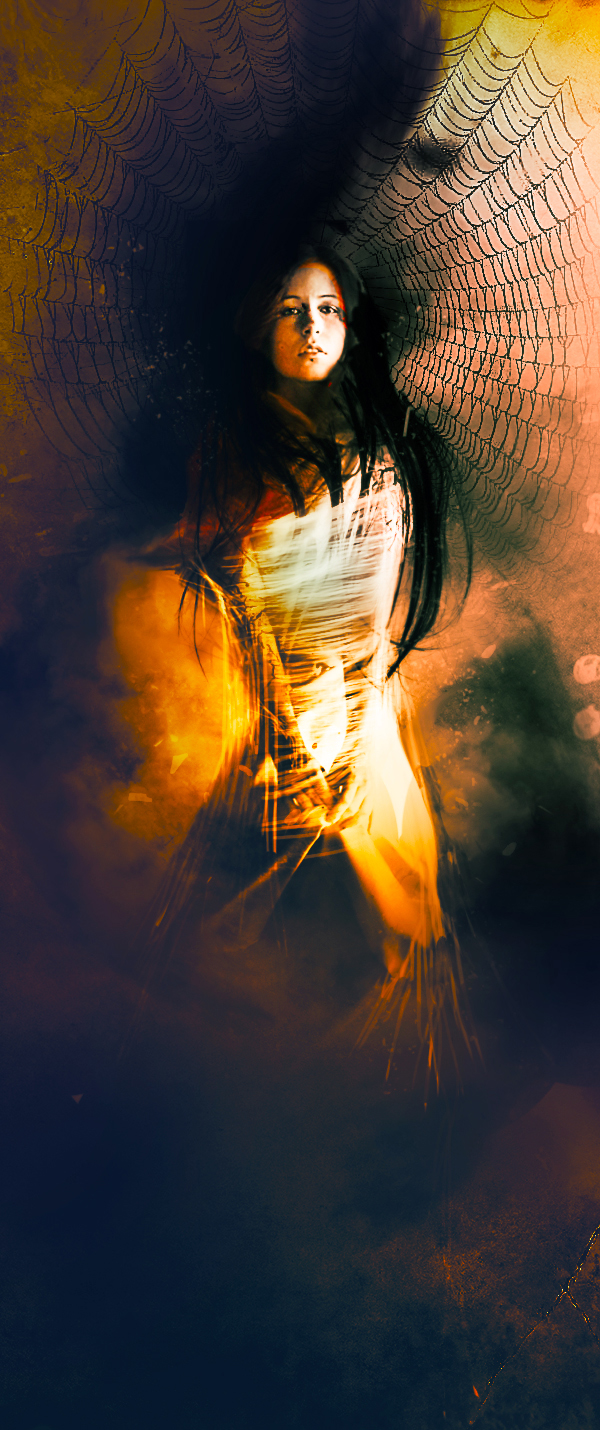 Create a Lady Trapped in Spider Web Surreal Scene in Photoshop