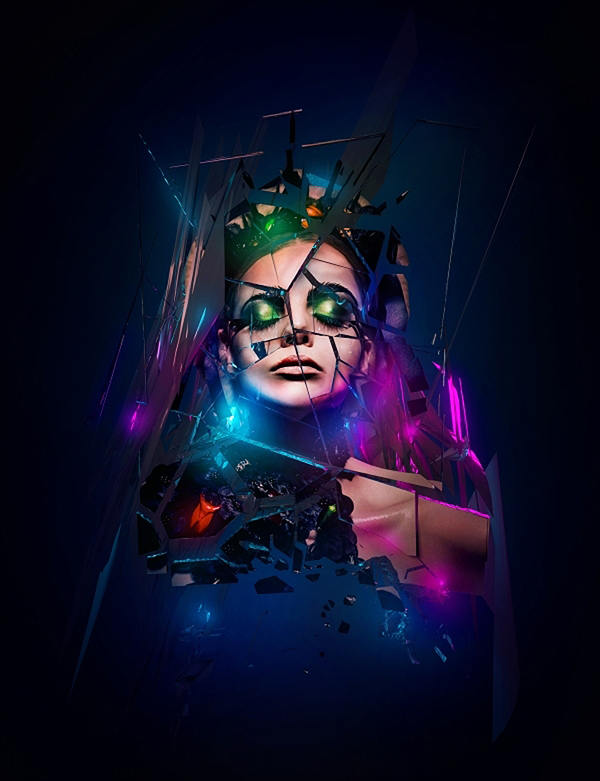 Make a Shattered Mirror Photoshop Effect in Photoshop tutorial