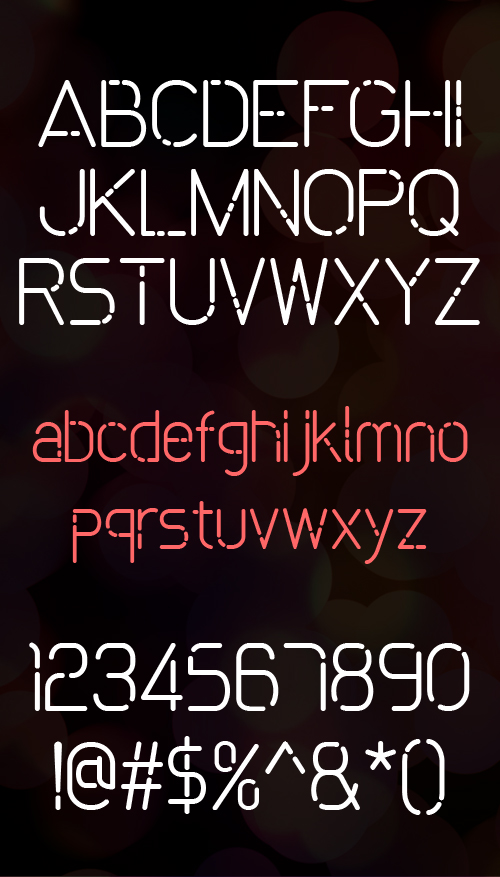 Bokeh rounded font letters and numbers