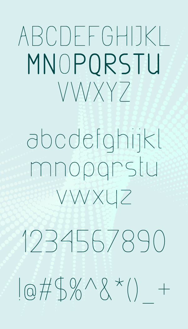 Exacta rounded font letters and numbers