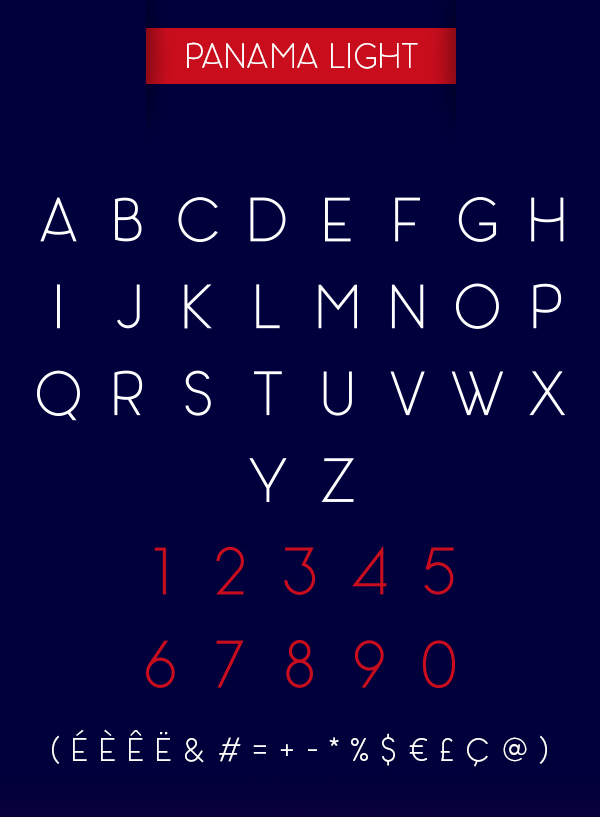 Panama fonts and letters