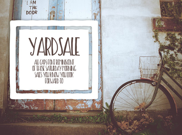 Yard sale is a fun, hand-painted all caps font