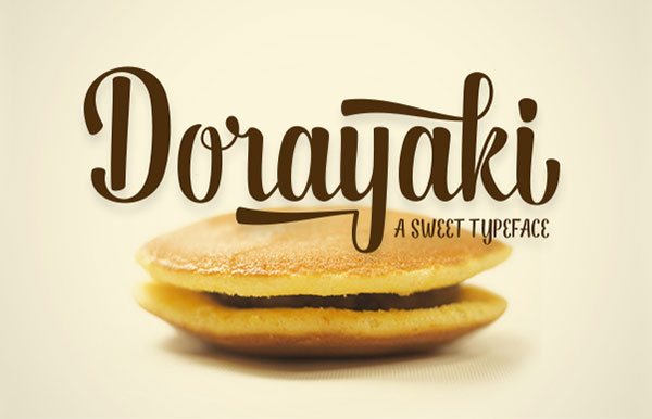 Dorayaki Script bold, modern typeface that combines brush lettering with natural handwriting