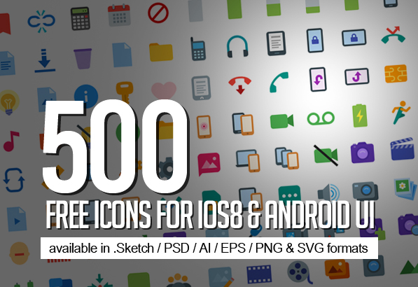 500 Free Icons for ios8 & Android UI Design