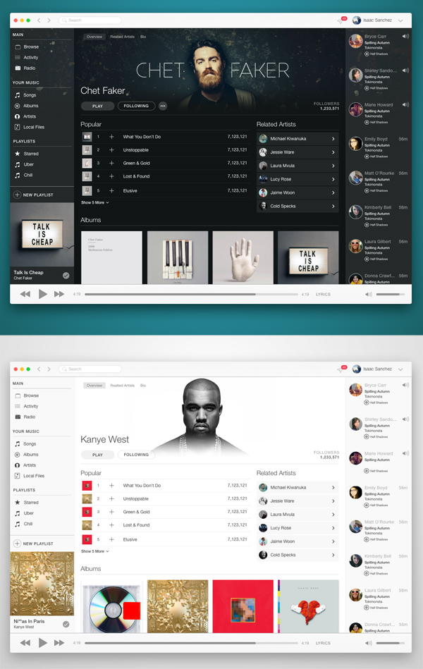 Spotify and Apple Music UI and UX (.sketch)