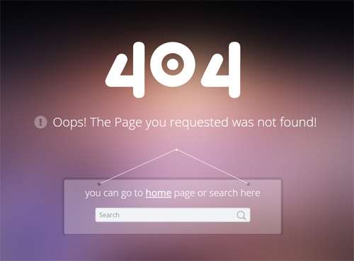 Free 404 Error Page PSD Template