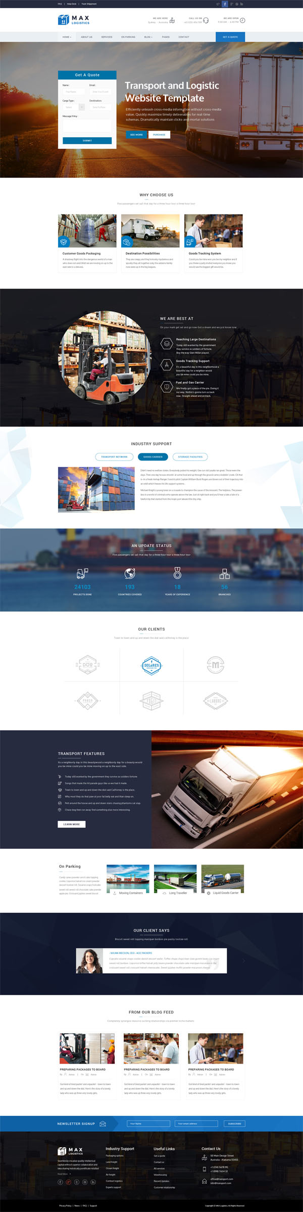 Max Logistics - Transport & Logistics HTML Template