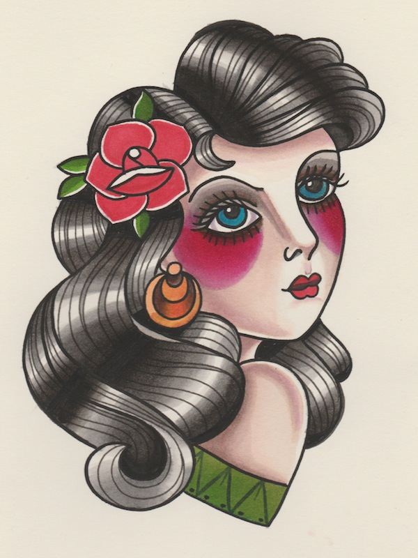 How to Draw a Vintage Pin-Up Portrait Tattoo Illustration