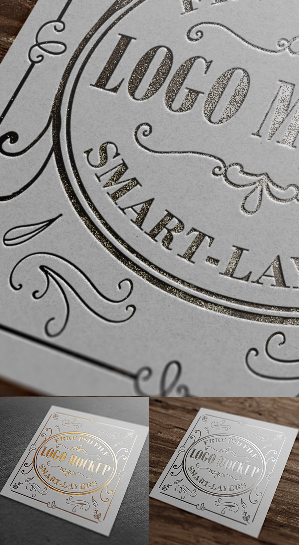 Free Gold And Silver Stamping Logo Mockup