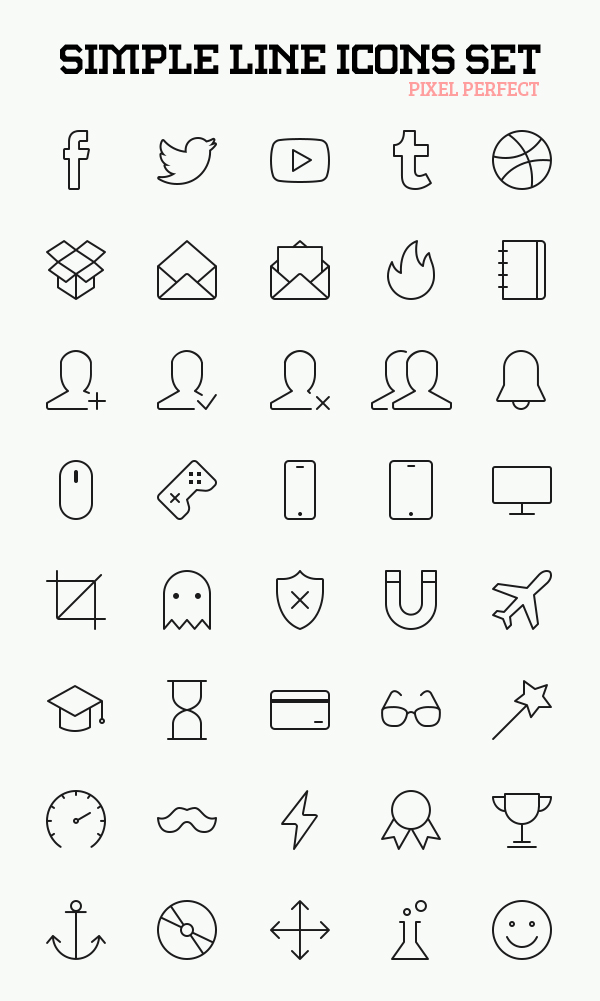 Simple Line Icons Set (AI, PSD, EPS, SVG, PNG) - 40 Icons