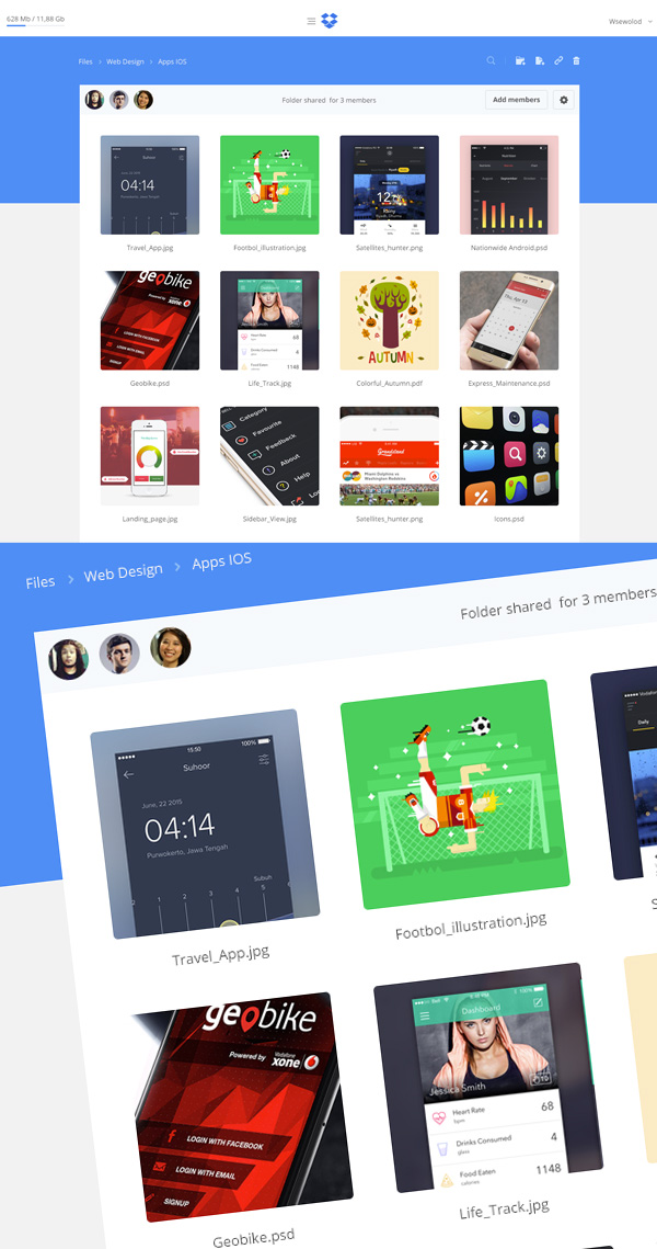 Dropbox Redesign Concept Free PSD