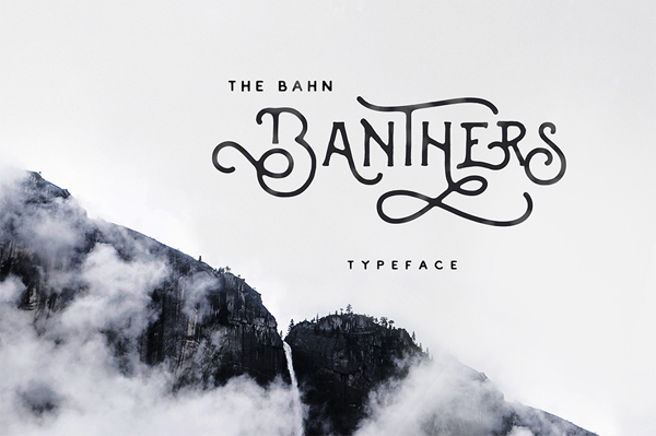 Banthers is handmade modern vintage mono-line display typefaces